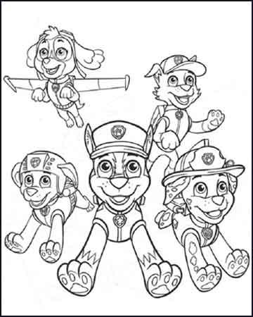 Chase Marshall Rocky Zuma y Skye la patrulla canina - Dibujos para colorear