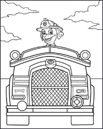 Marshall en su camion de bomberos la patrulla canina - Dibujos para colorear