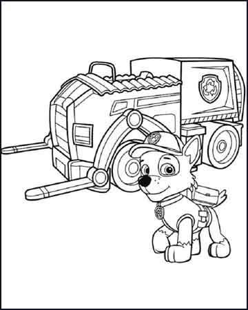 Rocky con su camion para reciclar la patrulla canina - Dibujos para colorear