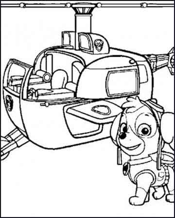 Skye y su helicoptero dibujos para imprimir patrulla canina - Dibujos para colorear