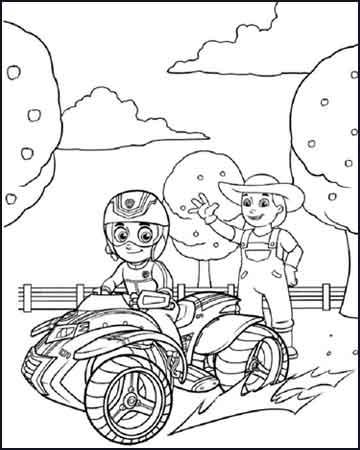 ryder en una moto quat la patrulla canina - Dibujos para colorear